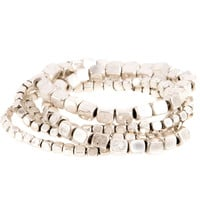 Silver Stretch Bracelet With Square Beads