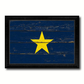 Burnet's 1st Texas Republic 1836-1839 Military Flag Vintage Canvas Print with Black Picture Frame Home Decor Wall Art Decoration Gift Ideas