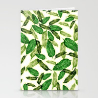 falling leaves // tropical leaf pattern Stationery Cards by Camila Quintana S