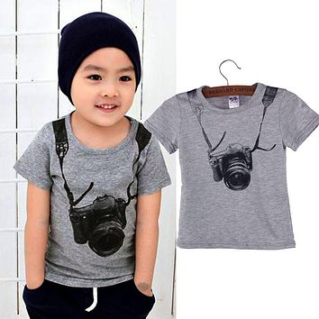 Hot New 2017 Summer Casual Fashion Summer Children Boy Kids Camera Short Sleeve Tops T Shirt Tees Clothes Costume For Kids