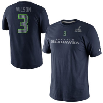 Nike Russell Wilson Seattle Seahawks Super Bowl XLVIII Bound Name and Number T-Shirt - College Navy