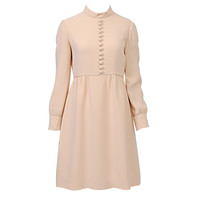 Teal Traina Cream Crepe 1960s Dress