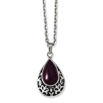 Stainless Steel Antiqued & Purple Cat's Eye Teardrop 20in Necklace