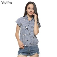 Women birds print loose blue striped shirts turn-down collar short sleeve blouses summer fashion tops blusas DT829