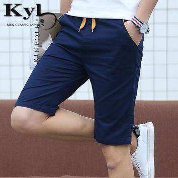 Shorts Men Elastic Waist 2017 New Compression Board Fitness Shorts Men Fashion 96% Cotton Blue Knee Length Solid Casual Short