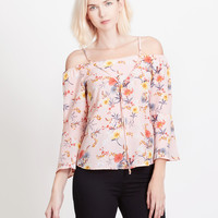 LE3NO Womens Chiffon Floral Print Off Shoulder Bell Sleeves Flowy Blouse Top (CLEARANCE)