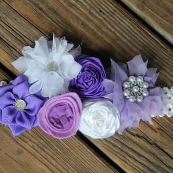 Pregnancy sash, Maternity photo prop, baby shower corsage, baby shower sash, its a girl sash, gender neutral sash, purple belly sash, baby