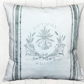 Harvest Wheat Grainsack Pillow Cover - Fall Pillow, Farmhouse Decor, Grain Sack Pillows, Farmhouse Pillow, 16 x 16, 18 x 18, 20 x 20