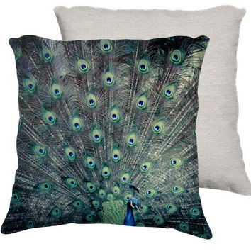 "Peacocks, Feather, Blue, Green, Home Decor, Decorative Pillows - ""His Feathered Majesty"""