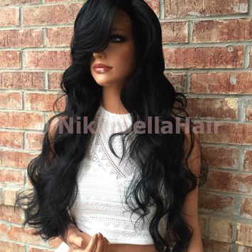 Madison Long Curly Human Hair Blend Lace Wig 26""