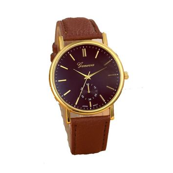 PU Leather Band Quartz Watches For Women