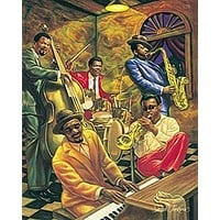 AFRICAN AMERICAN ART PRINT - COOL JAZZ - 24X36 POSTER