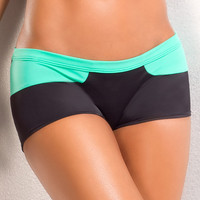 Vertical Vixen Splash,Mint Workout Shorts