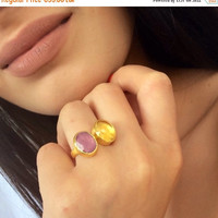 Fall Sales Gemstone Statement Ring, Gold Ruby Ring, Yellow Citrine Ring, Dual Cocktail Ring, Birthstone Ring, Silver Statement Ring, Gift fo
