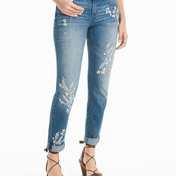 White House | Black Market Embroidered Girlfriend Jeans