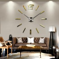 Modern 3D Big Mirror Wall Clock