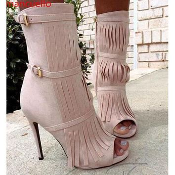 Tassels Stiletto Heel Round Toe High Heel Ankle Boot Sandals Party Shoes