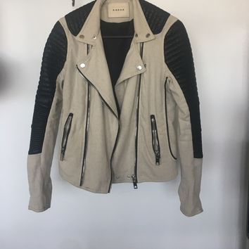 Blank NYC Linen and Vegan Leather Moto Jacket