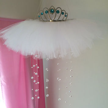 crystal baby mobile, princess mobile, princess decor, tutu mobile, baby mobile,  tiara mobile, aqua baby mobile, teal baby mobile