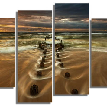 Glass Wall Art Acrylic Decor Set Road to the Sea , 5 Stars Gift and a Contemporary Clock Startonight Set of 5 Total 35.43 X 47.2 Inch