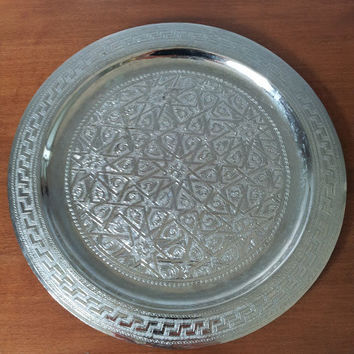 Vintage Moroccan Round Silver tray Oriental Exotic decor engraved greek key wall art