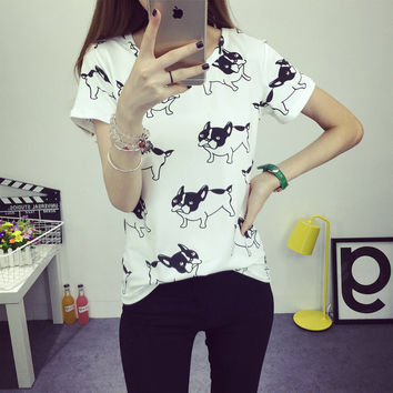 Summer New cute dog printed fashion clothes T-shirts for women tee shirt femme camisetas poleras tshirt female t shirts tops