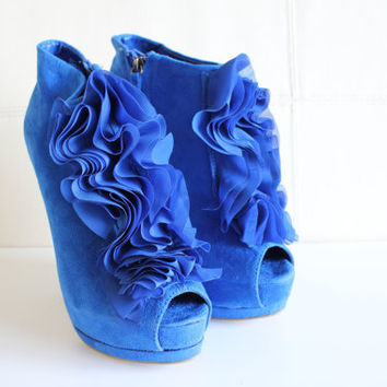 Size 6 Super High Heels Platform Pumps Blue Suede Open Toe Pumps High Heels Platform Ankle Boots Bridal Wedding Heels 90s Vintage #S042A