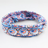 Full Tilt Ethnic Print Turban Knot Headband Blue Combo One Size For Women 24428424901