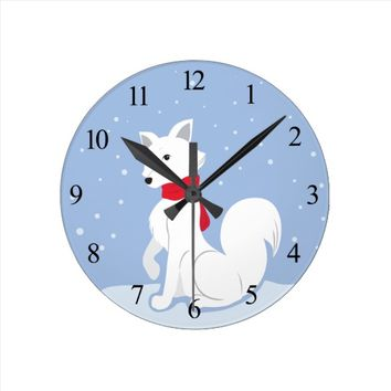 Arctic Fox (with Numbers) Round Clock