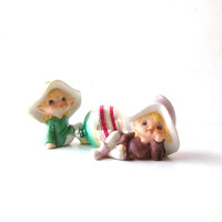 Vintage Pixie Elves. Christmas Holiday Shabby cottage chic Home Decor. Homco Pixies