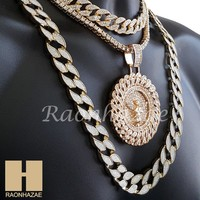 "Hip Hop Iced Out Angel Pendant 16"" Iced Out Choker 18"" Tennis 30"" Cuban Chain 17"