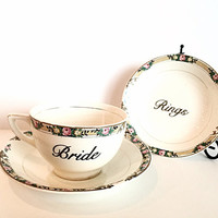 Wedding Photo Props - Bride - Bridal - Vintage China - Bridal Shower Gift - Ring Dish - Bride Tea Cup - Gold - Rose - Roses