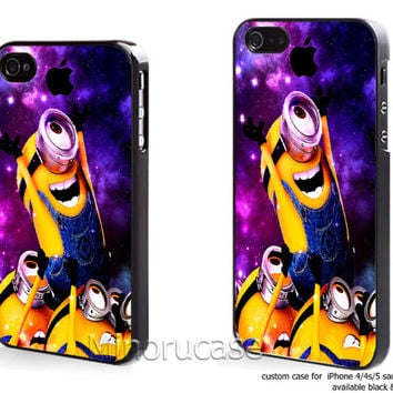 minion galaxy new Custom case For iphone 4/4s,iphone 5,Samsung Galaxy S3,Samsung Galaxy S4 by minorucase on etsy