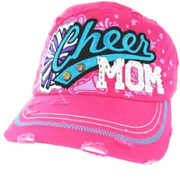 CHEER Mom Cute Designer Fashion Bling Baseball Cap Turquoise Purple Pink Silver Rhinestone Pom Pom