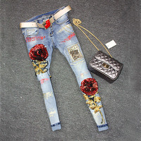 2016 Sequins Jeans Women Club Style Street Beat Holes Jeans Ripped Jeans High Waist Floral Jeans