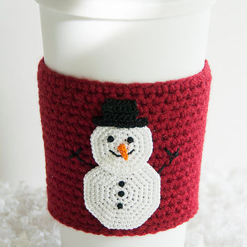 Cup Sleeve, Coffee cozy, crochet appliqued snowman, christmas, winter, carrot nose, crochet wine red colored sleeve, stocking stuffer