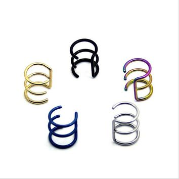 Stainless Steel Nose Rings Studs Fake Piercing Gold/Silver/Black
