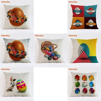 35x35 45x45 55x55cm Pillowcase almofada 2018 new Year gift Cute colorful happy easter egg bunny decorative pillows cushion Linen