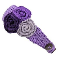Luxury Divas Lilac Purple Knit Hand Made Headband With Three Crochet Flowers