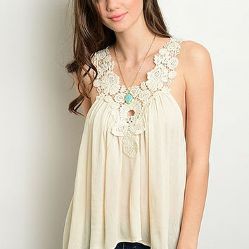 Sweet Talk Lace Crochet Tank