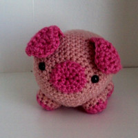 Crocheted Stuffed Pig / Piglet - Amigurumi, Toy, Plush