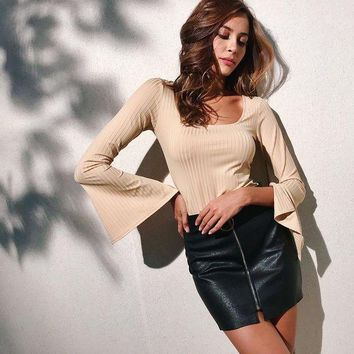 ESBON Women All-match Simple Solid Color Pagoda Sleeve Long Sleeve Show Thin T-shirt Tops