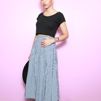 Vintage 1990's Cute Blue & White Gingham Maxi Skirt