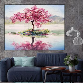 Canvas Picture wall art Large Wall Art Abstract Tree Painting Colorful Landscape Paintings Decoration Not Framed