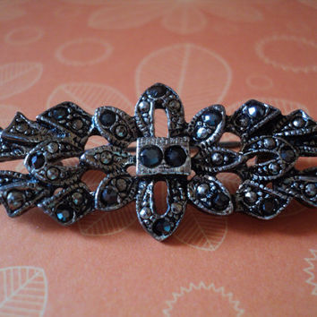 Marcasite Brooch Lapel Pin 1960s Costume Jewelry Sparkly Black Marcasite Stones on Silvertone Metal Mid Century Art Deco Design