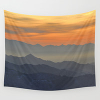 Mountains. Foggy sunset Wall Tapestry by Guido Montañés
