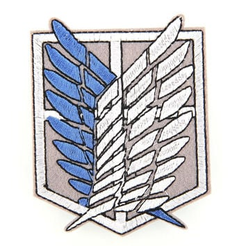 3D Embroidery Shingeki no Kyojin Attack on Titan Recon Corps Logo Patch Badge Cosplay Badges for Clothes New free shipping