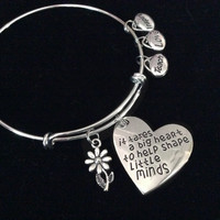 It Takes a Big Heart to Shape Little Minds Expandable Silver Charm Bracelet Adjustable Bangle Teach Inspire School Gift