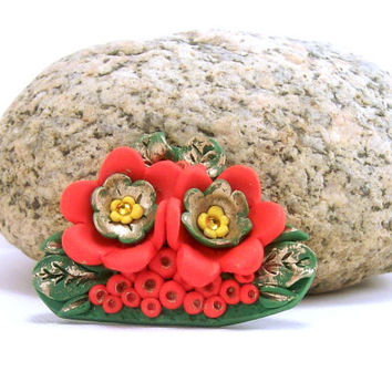 Bright Red Handmade Floral Brooch / Polymer Clay Jewelry