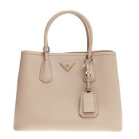 PRADA Cuir Double Tote Saffiano Leather Small Light Brown Satchel Bag